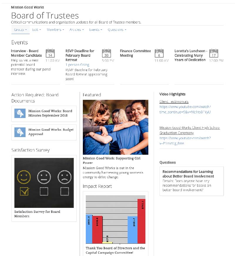 Board/Trustees interactive group screenshot