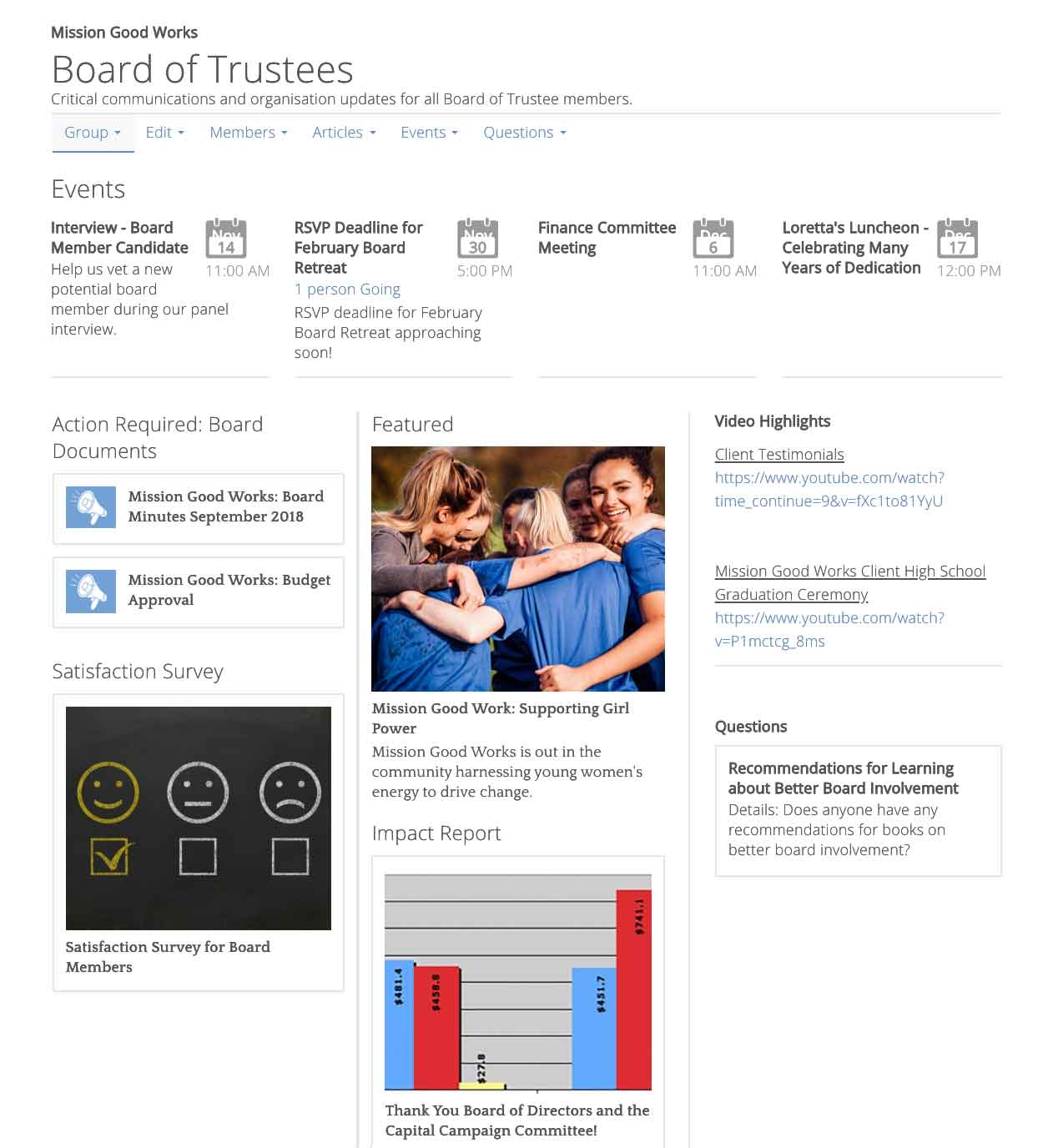 Board/Trustees interactive group screen shot