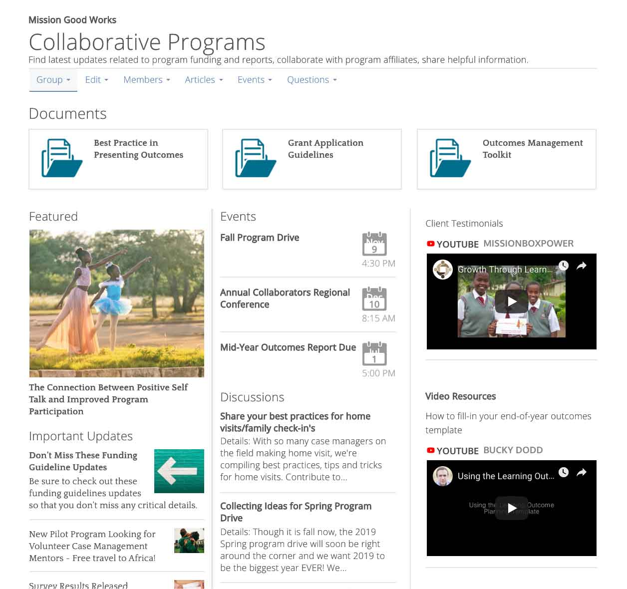 Collaborations interactive group screen shot