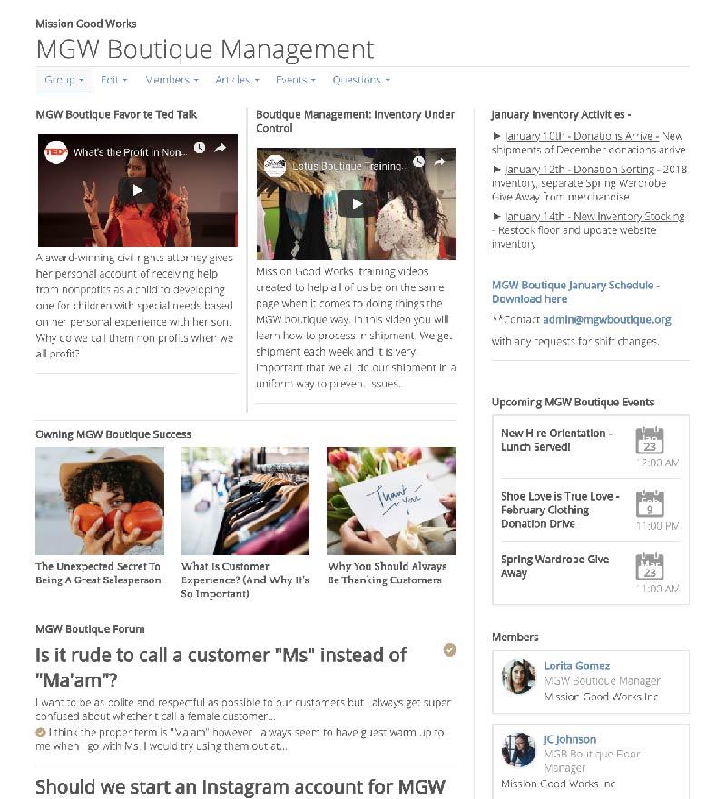 Customer interactive group screenshot