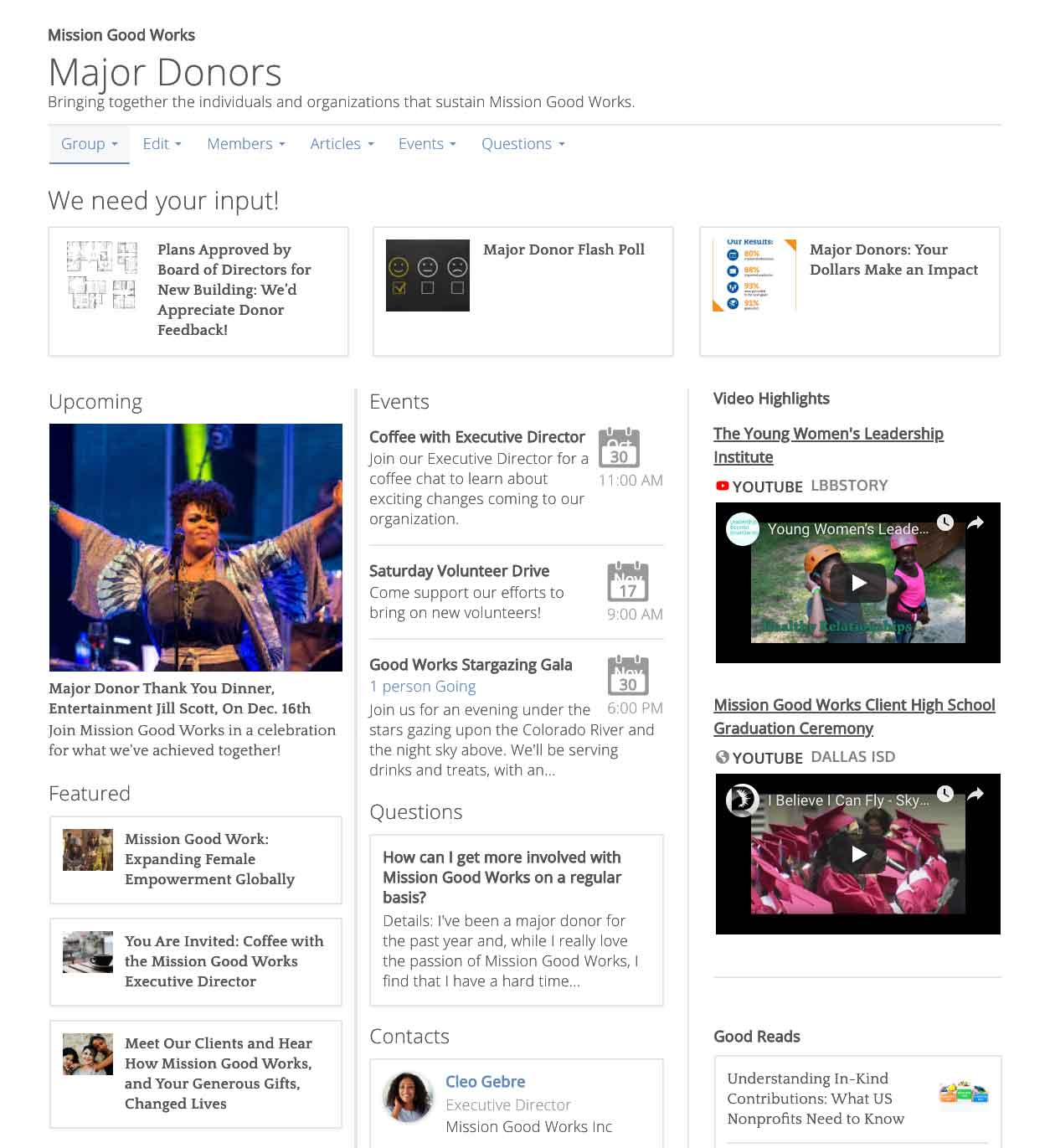 Major Donors interactive group screen shot