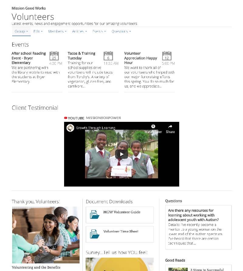 Volunteer interactive group screenshot