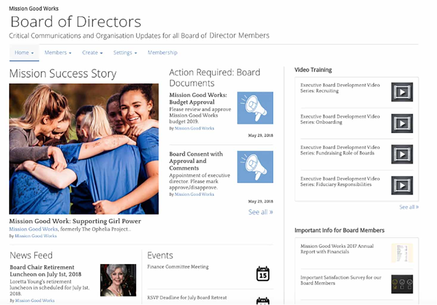 Board of Directors engagement page
