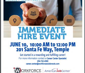 Go2Work Job Fair - Thursday, June 10th: 10am -12pm Temple, TX - Featured Photo